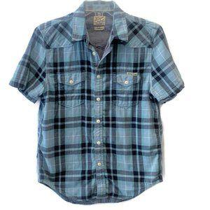 Lucky Brand Men's Blue Plaid Button Cotton Shirt M